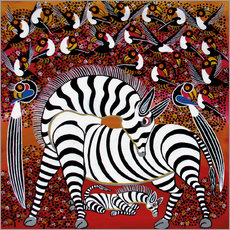 Vinilo para la pared  Zebra with a large flock of birds - Hassani