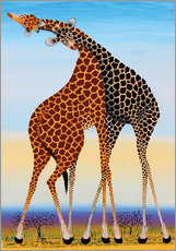 Vinilo para la pared Loving Giraffes