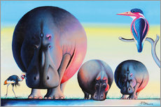 Vinilo para la pared Hippo mother with cubs