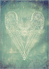 Vinilo para la pared  Vintage Winged Heart - Sybille Sterk