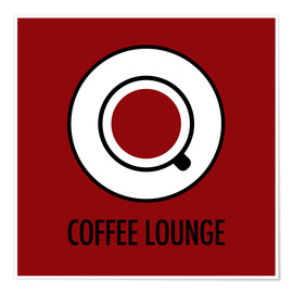 Póster Coffee lounge, red