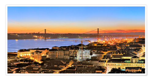 Póster Panorama of Lisbon Portugal