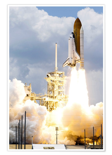 Póster Space shuttle Atlantis launches