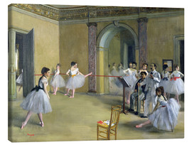 Lienzo  The Dance Foyer at the Opera on the rue Le Peletier - Edgar Degas