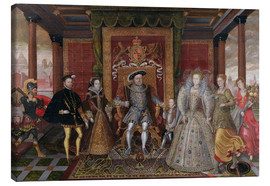 Lienzo  An Allegory of the Tudor Succession: The Family of Henry VIII - Lucas de Heere