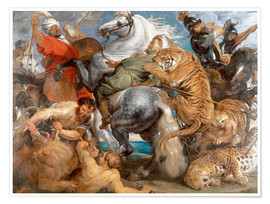 Póster  The Tiger Hunt - Peter Paul Rubens