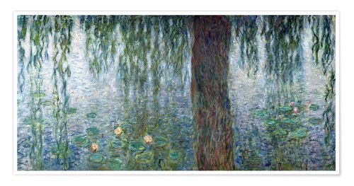 Póster Waterlilies: Morning with Weeping Willows (detail)