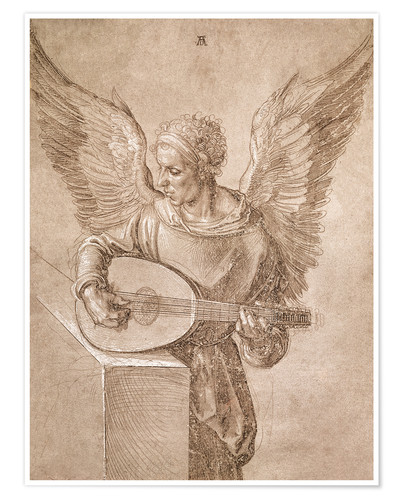 Póster Angel playing a lute
