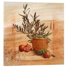 Cuadro de metacrilato  Pomegranate and olive harvest - Franz Heigl