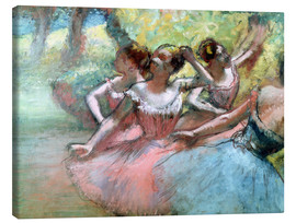 Lienzo  Four ballerinas on the stage - Edgar Degas