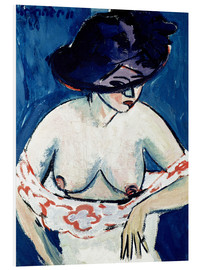 Cuadro de PVC  Half-Naked Woman with a Hat - Ernst Ludwig Kirchner