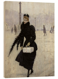 Cuadro de madera  Parisian woman in the Place de la Concorde - Jean Beraud