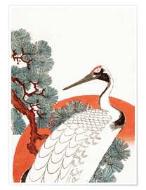 Póster  First sunrise of the New Year, with a crane in a pine tree - Utagawa Hiroshige