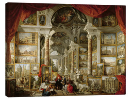 Lienzo  Gallery with Views of Modern Rome - Giovanni Paolo Pannini