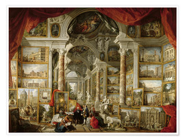 Póster  Gallery with Views of Modern Rome - Giovanni Paolo Pannini