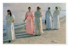 Póster  Promenade on the Beach - Michael Peter Ancher