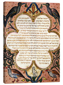 Lienzo  Page from a Hebrew Bible with birds - Joseph Asarfati