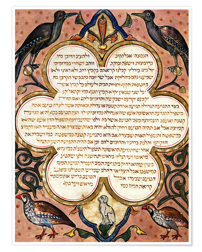 Póster Page from a Hebrew Bible with birds