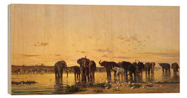 Cuadro de madera  African Elephants - Charles Emile de Tournemine