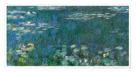 Póster  Water Lilies, Green Reflections 1 - Claude Monet