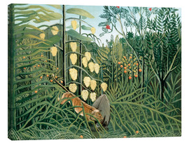 Lienzo  Tiger attacks a buffalo - Henri Rousseau