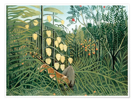 Póster  Tiger attacks a buffalo - Henri Rousseau