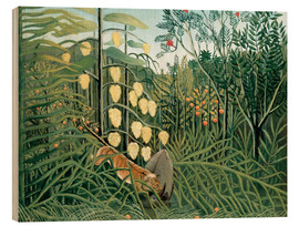 Cuadro de madera  Tiger attacks a buffalo - Henri Rousseau