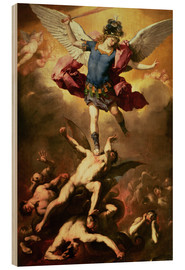 Madera  Archangel Michael overthrows the rebel angel - Luca Giordano
