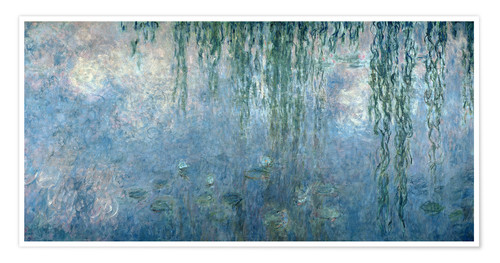 Póster Waterlilies: Morning with Weeping Willows