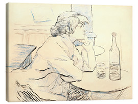Lienzo  Suzanne Valadon sitting at table - Henri de Toulouse-Lautrec