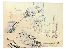 Cuadro de PVC  Suzanne Valadon sitting at table - Henri de Toulouse-Lautrec