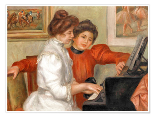 Póster Yvonne and Christine Lerolle at the piano