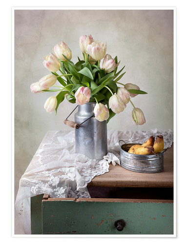 Póster Still life with tulips