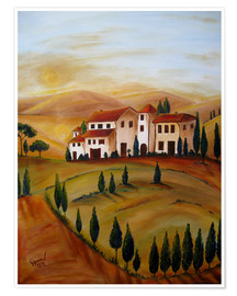 Póster  Sunrise in Tuscany - Christine Huwer