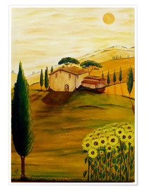 Póster Sunflowers in Tuscany