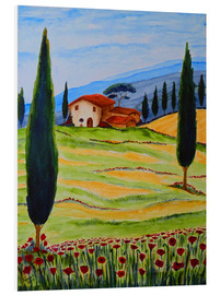 Cuadro de PVC  Flowering Poppies of Tuscany 4 - Christine Huwer