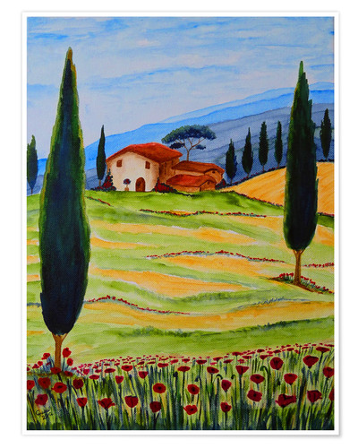 Póster Flowering Poppies of Tuscany 4