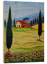 Cuadro de madera  Flowering Poppies of Tuscany 4 - Christine Huwer