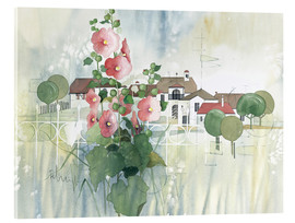 Cuadro de metacrilato  Rural Impression with hollyhocks - Franz Heigl