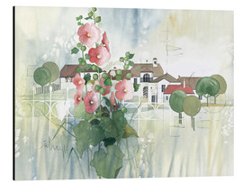 Cuadro de aluminio  Rural Impression with hollyhocks - Franz Heigl