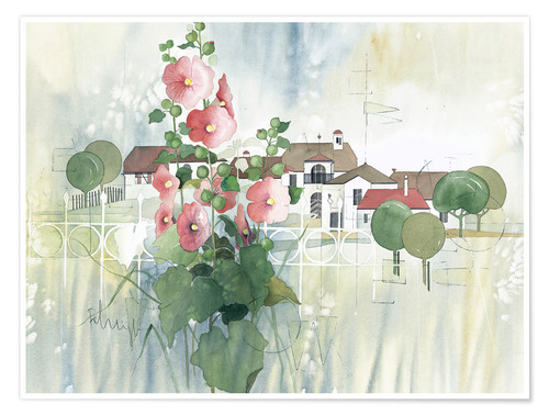 Póster Rural Impression with hollyhocks