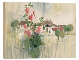 Cuadro de madera  Rural Impression with hollyhocks - Franz Heigl