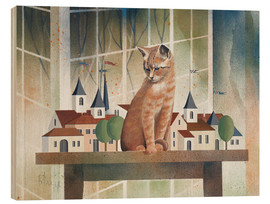 Cuadro de madera  View of the cat - Franz Heigl