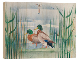Cuadro de madera  Pair of wild ducks - Franz Heigl