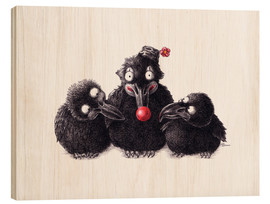 Cuadro de madera  Three Ravens, One Clown - Stefan Kahlhammer