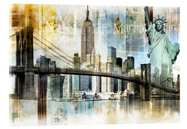Metacrilato  Skyline abstracto de Nueva York - Städtecollagen