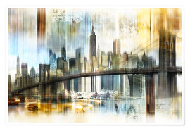 Póster Skyline New York Abstrakt Fraktal