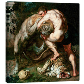 Lienzo  Hercules Fighting the Nemean Lion - Peter Paul Rubens