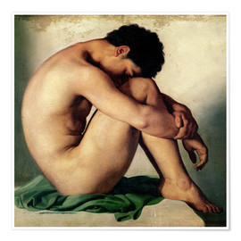 Póster  Study of a Nude Young Man - Hippolyte Flandrin