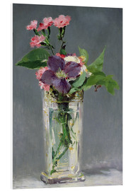Cuadro de PVC  Pinks and Clematis in a Crystal Vase - Edouard Manet